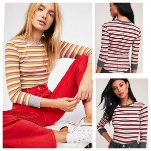 Free People Good on U Red Multi Striped 3/4 Sleeve